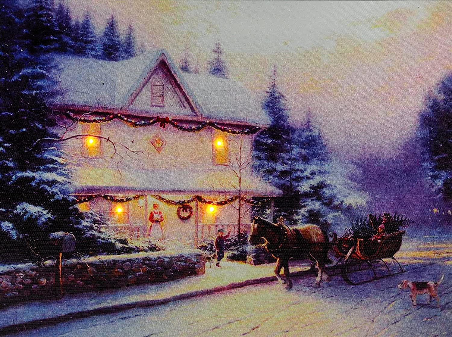 Christmas Decoration Light Up Led Canvas Wall Picture House And Horse Sleigh Amazon Co Uk Kitchen Home