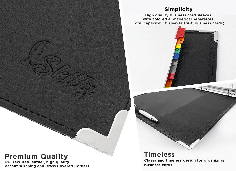Amazon.com : Skittz Business Card Book Leather Organizer Binder W ...