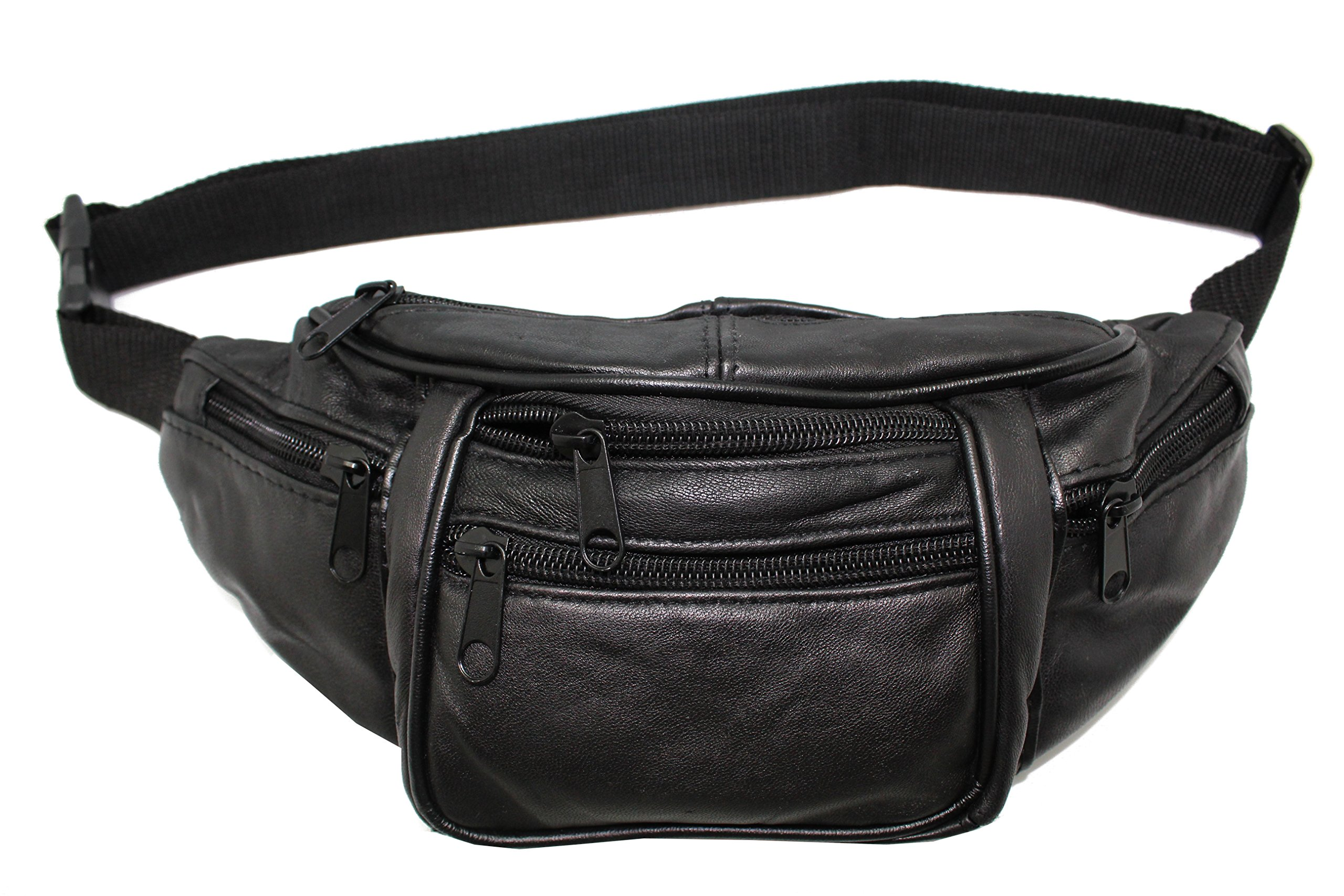 Black Sheep Leather Fanny Pack Biker Music Festival Waist,Belly Moon Bag,Travel Organizer Purse Zipper by Juzar Tapal Collection (Image #1)