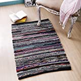 Cotton Hoisery Dark Multi Chindi Rugs 24x36 inch Dark Multi Color,Cotton Area Rugs,Indoor Out Door Rugs 2'x3',Rugs for Living