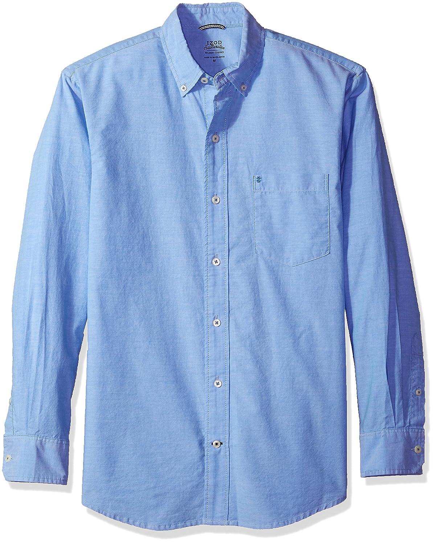 IZOD Mens Newport Long Sleeve Button Down Solid Oxford Shirt
