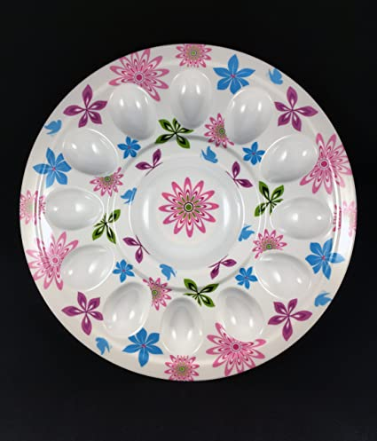 Deviled Egg Tray- This Floral Print Party Serving Platter Holds 12 Eggs