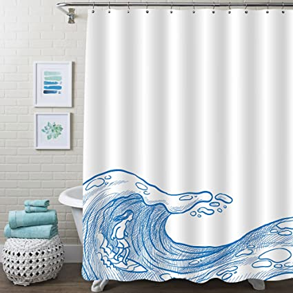 MitoVilla Summer Sports Shower Curtain Surfer On A Wave Communes With The Ocean Blue And