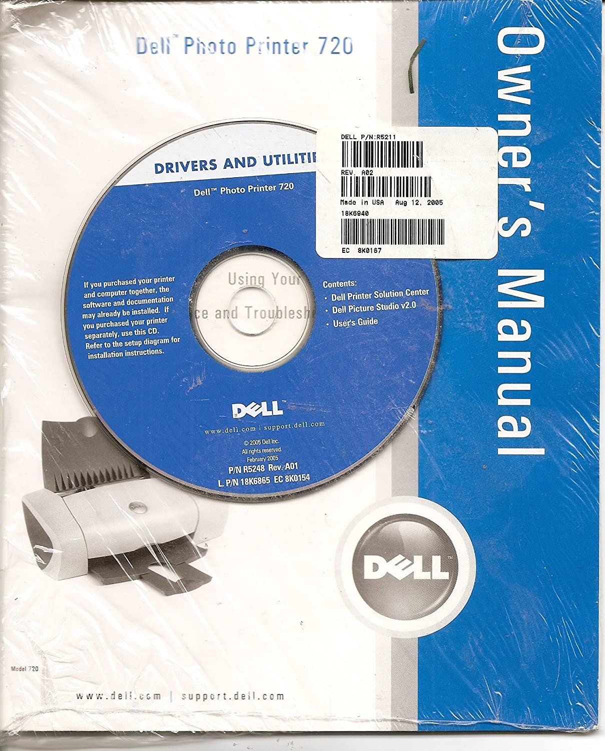 Amazon.com : DELL Photo Printer 720 Owner's Manual w/Drivers and Utilities  CD-ROM : Other Products : Everything Else