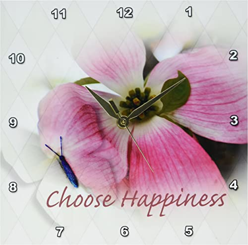 3dRose DPP_57185_1 Dogwood and Butterfly Inspirational Choose Happiness Quotes Flowers Wall Clock, 10 by 10-Inch