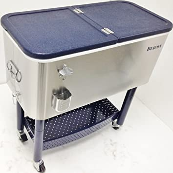 Beacon Rolling Party Cooler Stainless Steel Body With Storage U0026 Wheel Cart,  ...