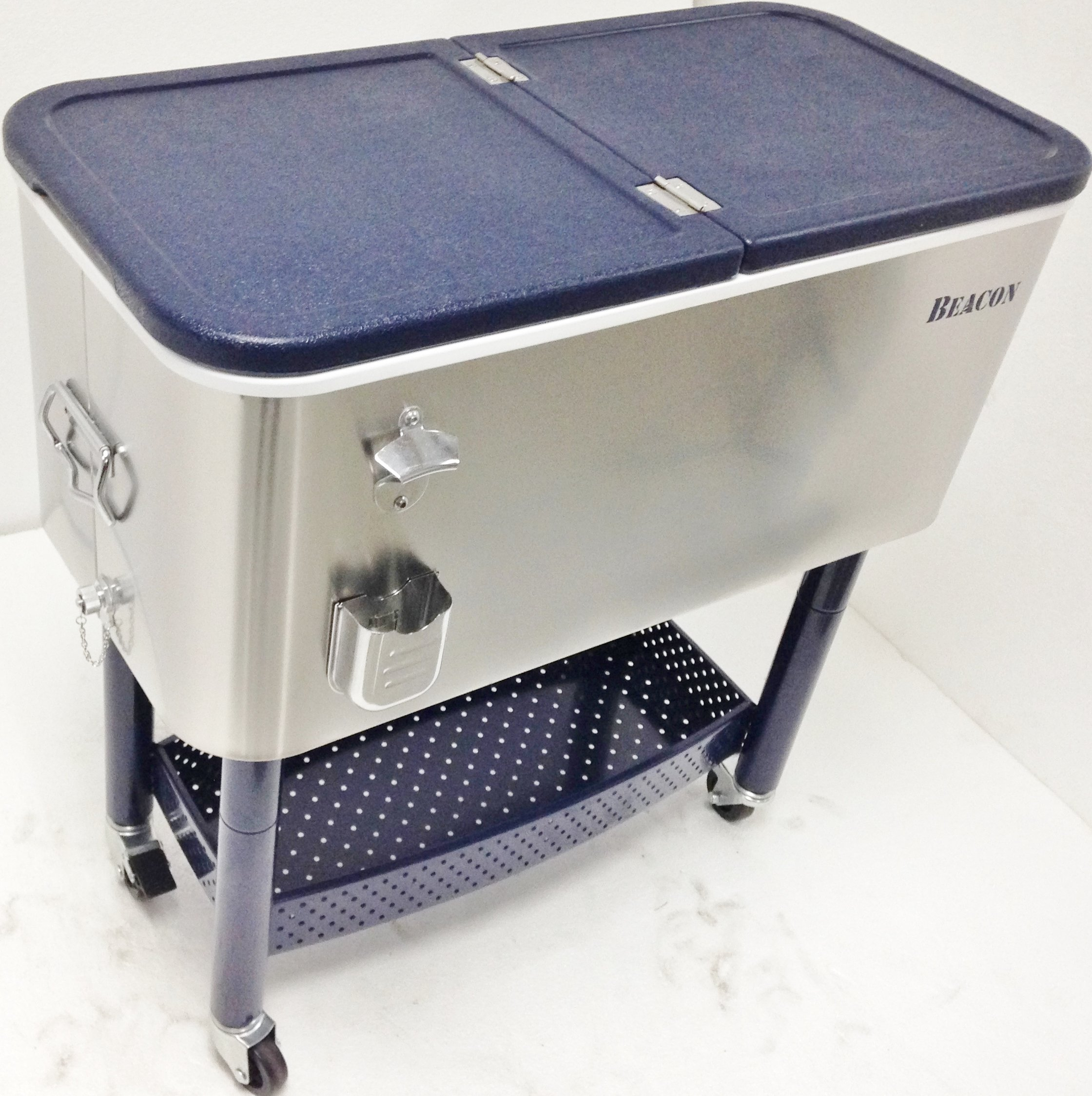Beacon Rolling Party Cooler Stainless Steel Body with Storage & Wheel Cart, 65 Qt
