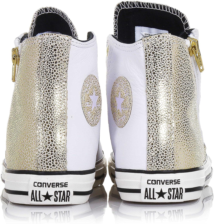 CONVERSE Sneaker stringata bianca e dorata, in pelle, con