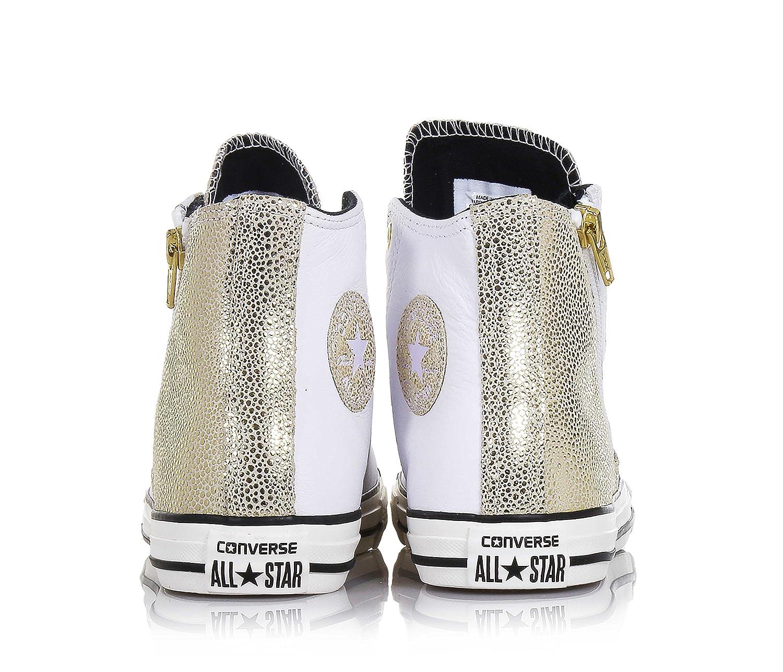 CONVERSE - Weiß-Goldene Turnschuhe Turnschuhe Turnschuhe mit Schnürsenkel aus Leder seitlich ein Reißverschluss seitlich ein Logo sichtbare Nähte und Gummisohle Mädchen Damen 09c491