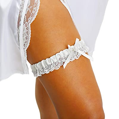 LR Bridal Ivory Wedding Bridal Garter with Rhinestone Satin Bow and lace for Brides: Clothing