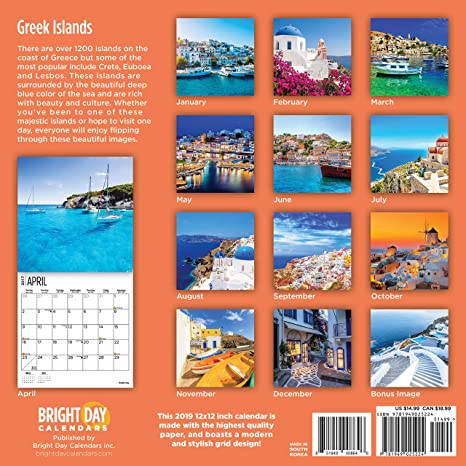 amazoncom greek islands 2019 16 month wall calendar 12 x 12 inches office products