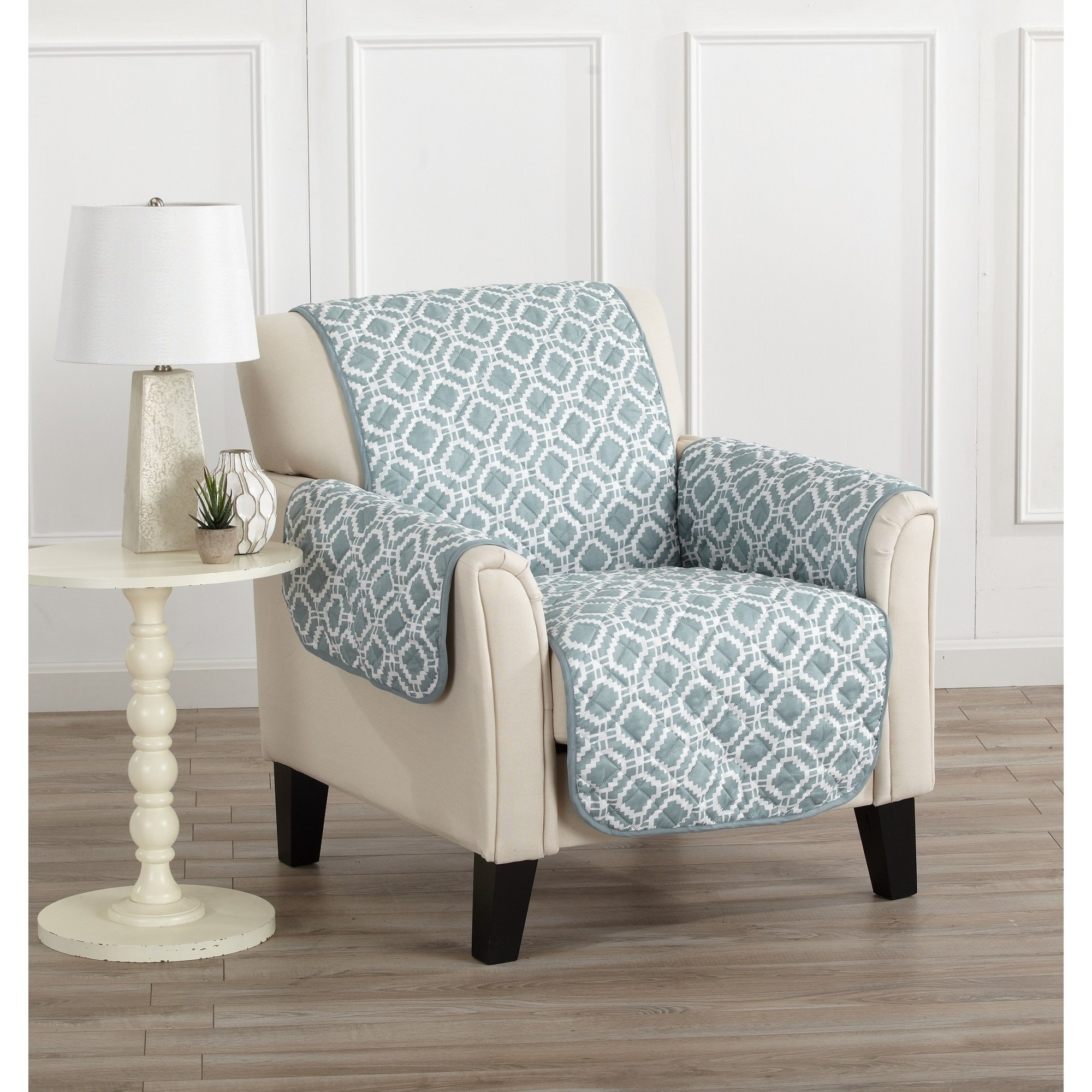 MN 1 Piece Silver Grey Geometric Chair Protector, Gray Medallion Diamond Shape Pattern Circle Dot Ikat Jacquard Modern Sleek Trendy Couch Protection Cover Pets Animals Covers, Polyester