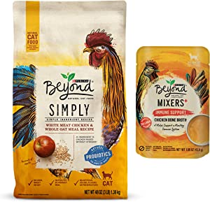 Purina Beyond Grain Free, Natural Dry Cat Food, Grain Free White Meat Chicken & Egg Recipe with Beyond Limited Ingredient, Natural Wet Cat Food Complement, Mixers Immune Support Chicken Bone Broth