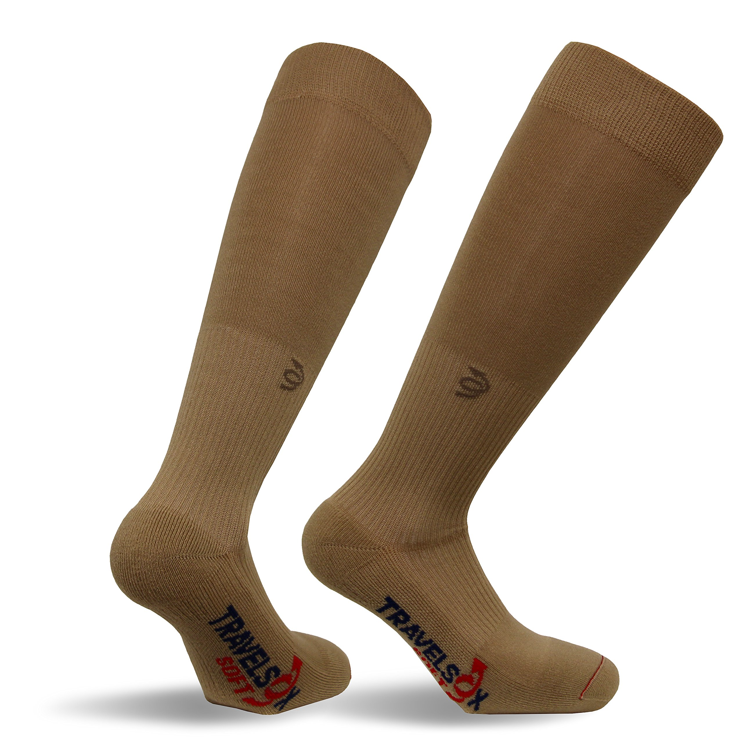Travelsox OTC Travelsoft Graduated Compression Socks with Silver DryStat TSS 6000 Khaki, Large by Vitalsox