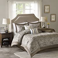 Comfort Spaces Charlize Jacquard 5-Piece Queen Size Comforter Set (Brown)
