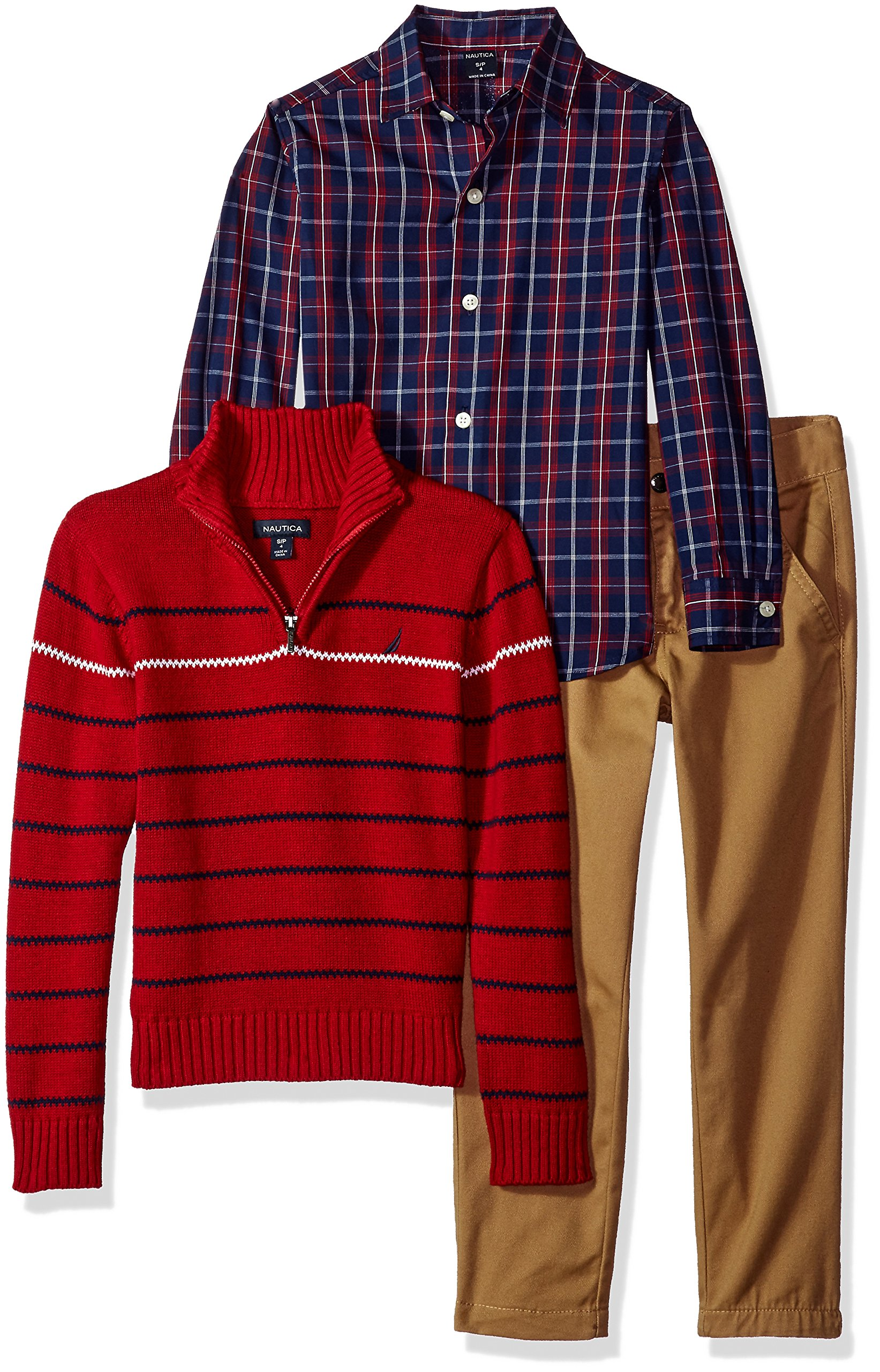 Nautica Boys' Three Piece Set with Zip Sweater, Woven Shirt, and Twill Pant, Red Rouge, 2T