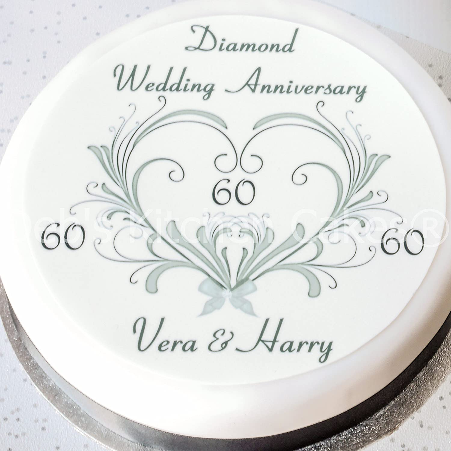Diamond wedding cake topper personalised edible icing 75 diamond wedding cake topper personalised edible icing 75 19cm round 60th wedding anniversary debs kitchen cakes amazon kitchen home kristyandbryce Choice Image