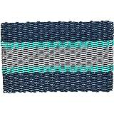 Wicked Good Lobster Rope Doormats, Handwoven Nautical Rope Doormats (18 x 30 x 1.25, Navy, Teal, Silver)