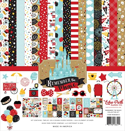 black kraft red yellow blue Echo Park Paper Company Remember The Magic 6x13 Phrases chipboard