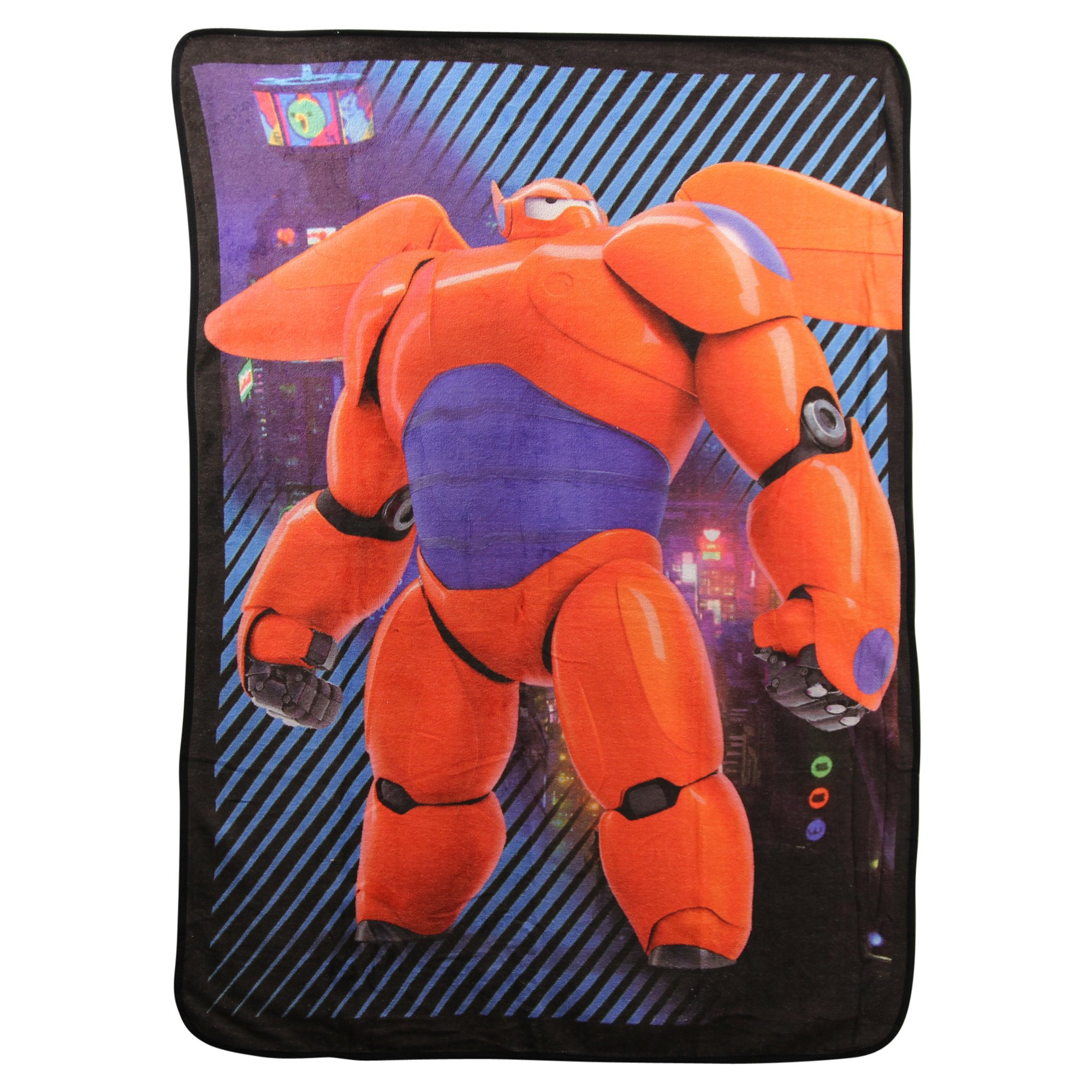 Northwest Kid's Colorful Character Micro Raschel Throw Blanket 46'' x 60'' (Big Hero 6'' City Max)