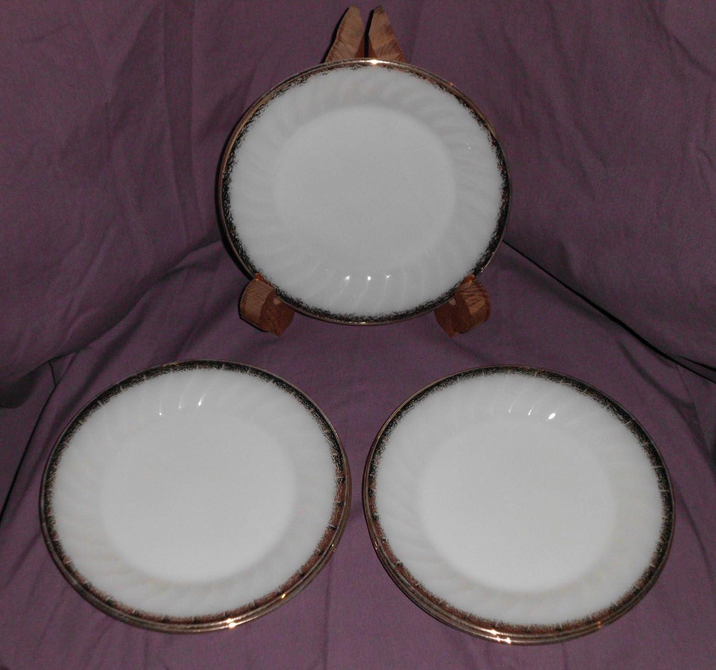 "(5) Vintage 1940s-60s Anchor Hocking FIRE-KING Ivory "" Swirl "" Golden Anniversary Salad Plates 7 3/4"" - Set of 5 91XVNjlEUVLSL1500_"