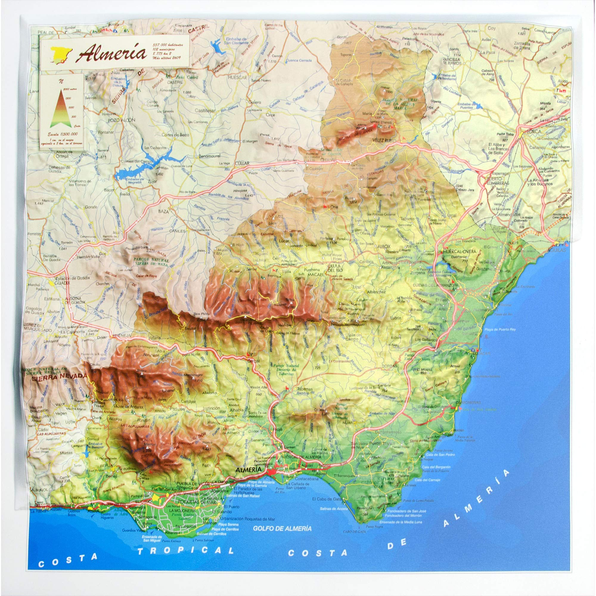 Mapa en relieve de Almería: Escala 1:500.000: Amazon.es: All 3D ...