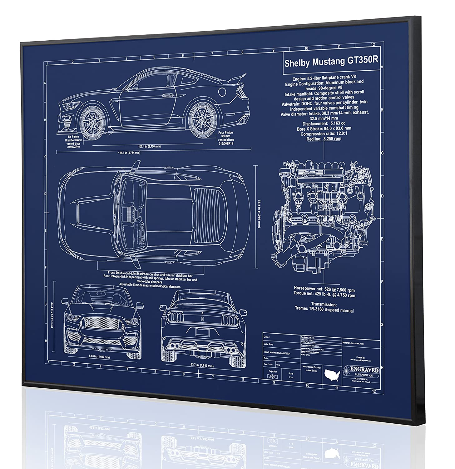 Amazon.com: Shelby Mustang GT350R Blueprint Artwork-Laser Marked &  Personalized-The Perfect Ford Gifts: Handmade