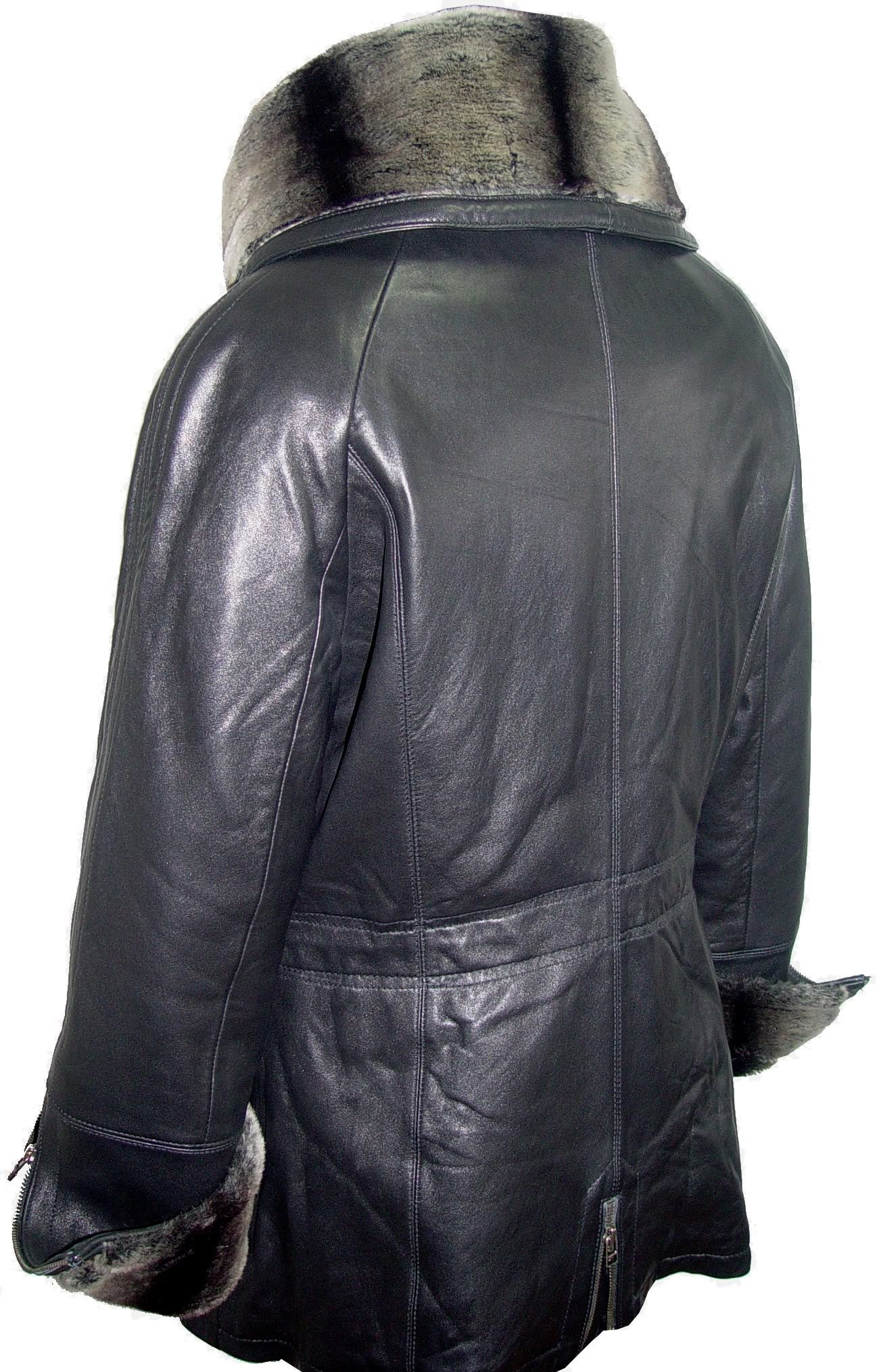 Paccilo 5008 Women Hooded Leather Coats Fake Fur The Parka Fine Soft Lamb by Paccilo (Image #3)