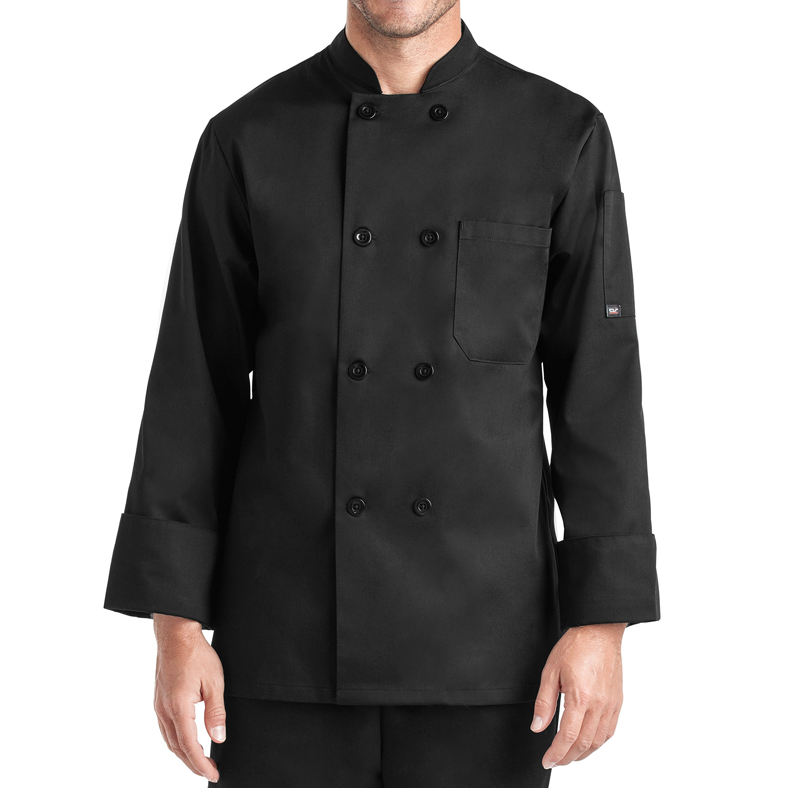 Unisex Long Sleeve Chef Coat/Double Breasted/Plastic Button Reversible Front Closure (S-2X, 2 Colors) (Black, Large)