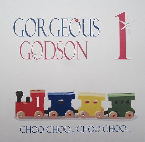 WHITE COTTON CARDS Gorgeous 1 Choo Handmade 1st Birthday Card Godson Train Amazoncouk Kitchen Home