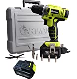 Cartman 20V Li-ion Battery Cordless Drill/Driver, 2-Speeds 1500RPM 21+1 Speed Control with 12 Bits, 2 Battery Pack