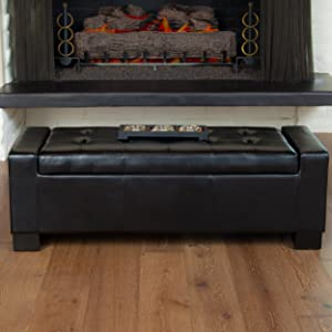 Christopher Knight Home 220650 Rothwell Black Bonded Leather Storage Ottoman