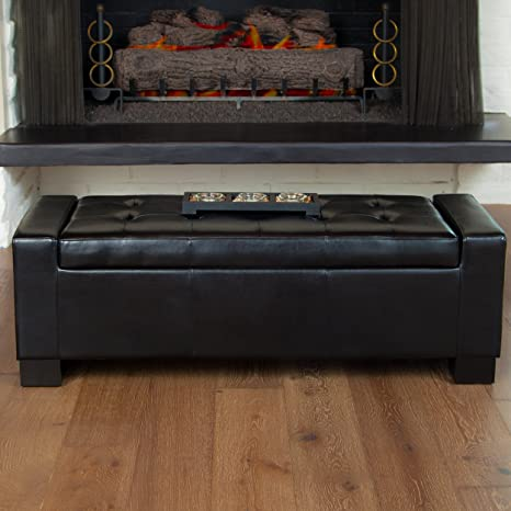 Awesome Christopher Knight Home Rothwell Black Bonded Leather Storage Ottoman Alphanode Cool Chair Designs And Ideas Alphanodeonline