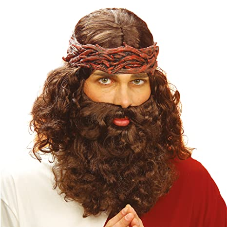 Jesus & Beard Set Brown Wig For Fancy Dress Costumes & Outfits Accessory