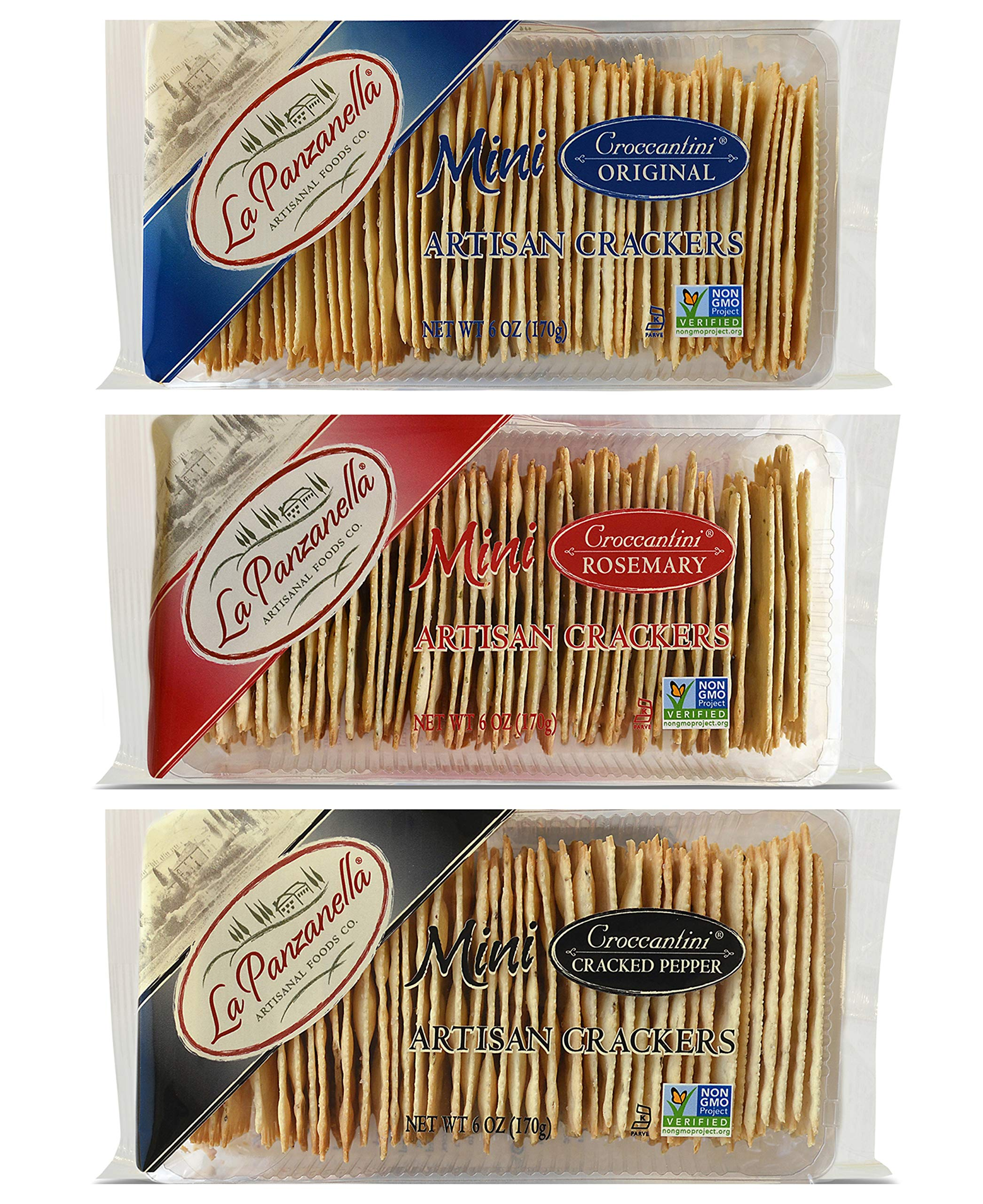 La Panzanella Mini Croccantini Artisan Snack Crackers in 3 Flavors: (1) Original, (1) Rosemary, and (1) Cracked Pepper (3 Bags Total, 6 Ounces Each)