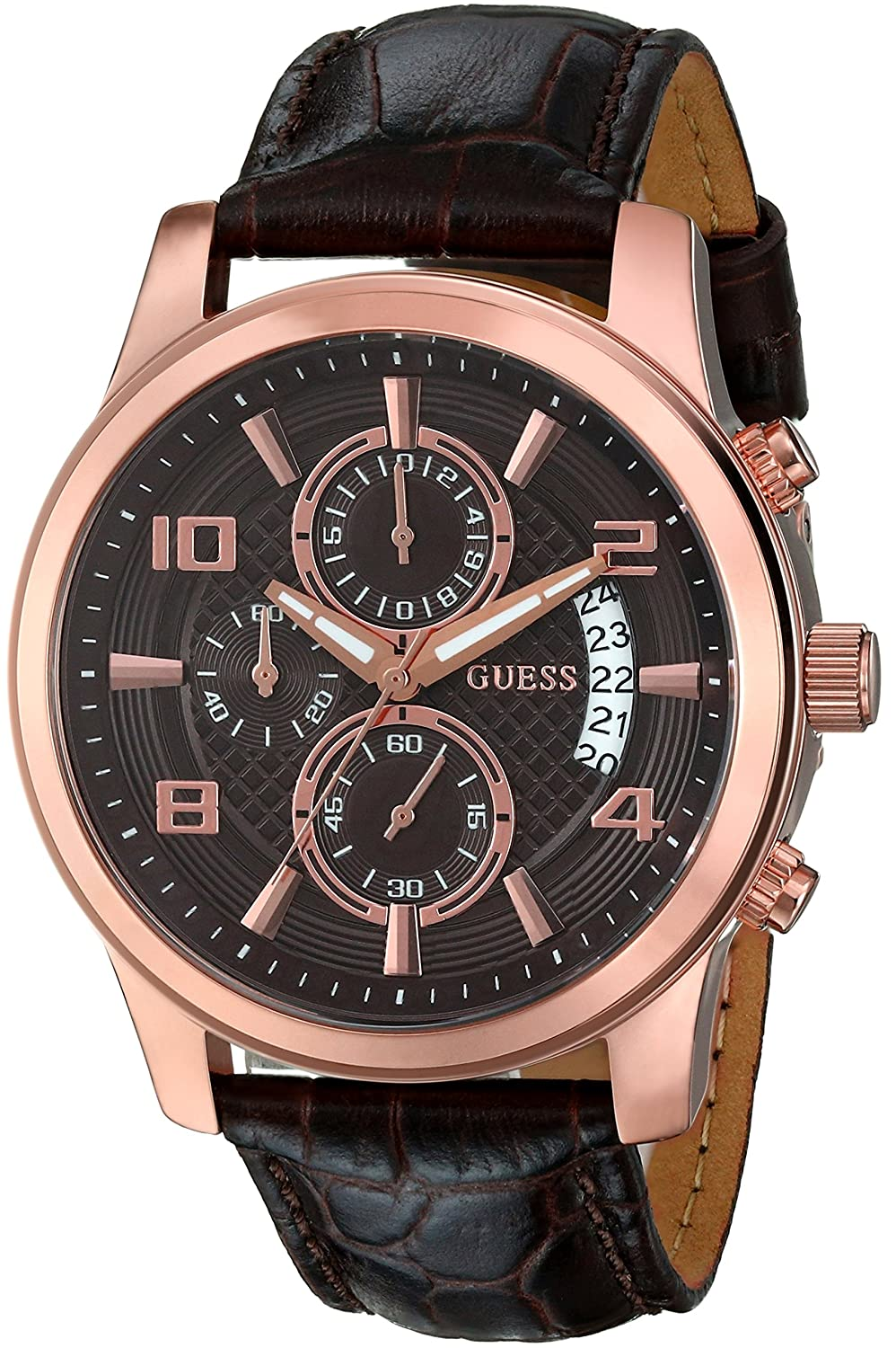 guess men s u0076g4 brown chronograph watch brown dial and guess men s u0076g4 brown chronograph watch brown dial and rose gold tone case amazon co uk watches