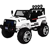 Ricco S2388 WHITE 4x4 Kids Ride On Car with Remote Control LED Lights and Music, White