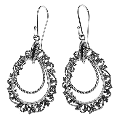 582d18361 Image Unavailable. Image not available for. Color: Paz Creations ♥925 Sterling  Silver Lace Drop Dangle Earrings, Made in Israel