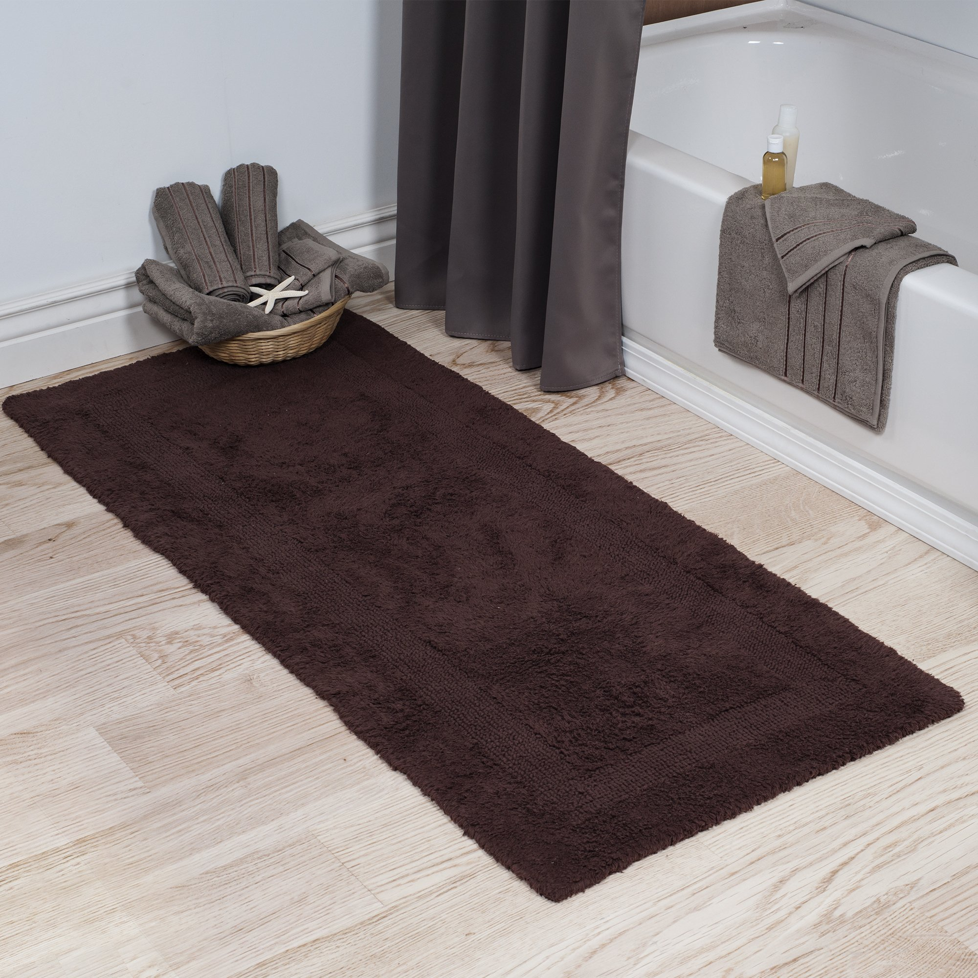 Bedford Home 100% Cotton Reversible Long Bath Rug - Chocolate - 24x60