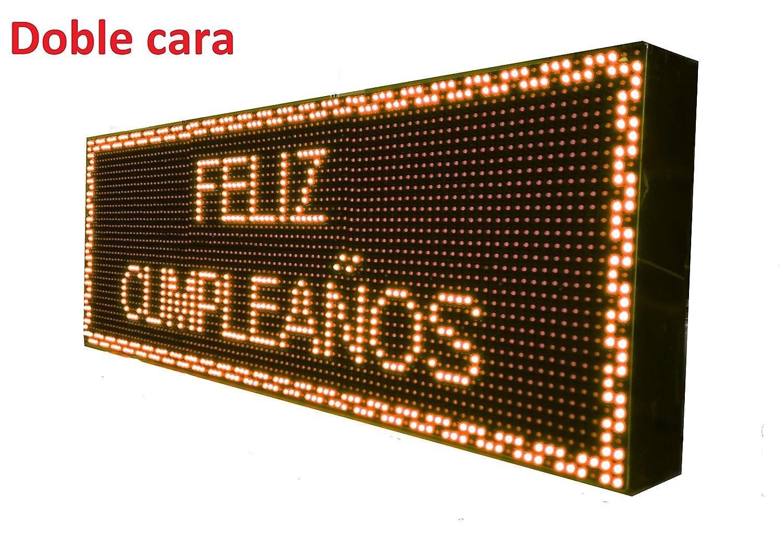 CARTEL LED PROGRAMABLE/LETRERO ALTA LUMINOSIDAD/PANTALLA ELECTRÓNICA (96 * 32 cm doble cara, NARANJA ÁMBAR) ROTULOS VÁLIDOS PARA ...