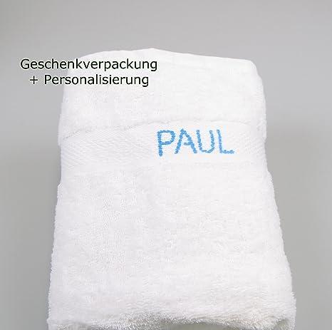 Toalla Grande con nombre Azul estampado, toalla de ducha, 100 cm x 50 cm