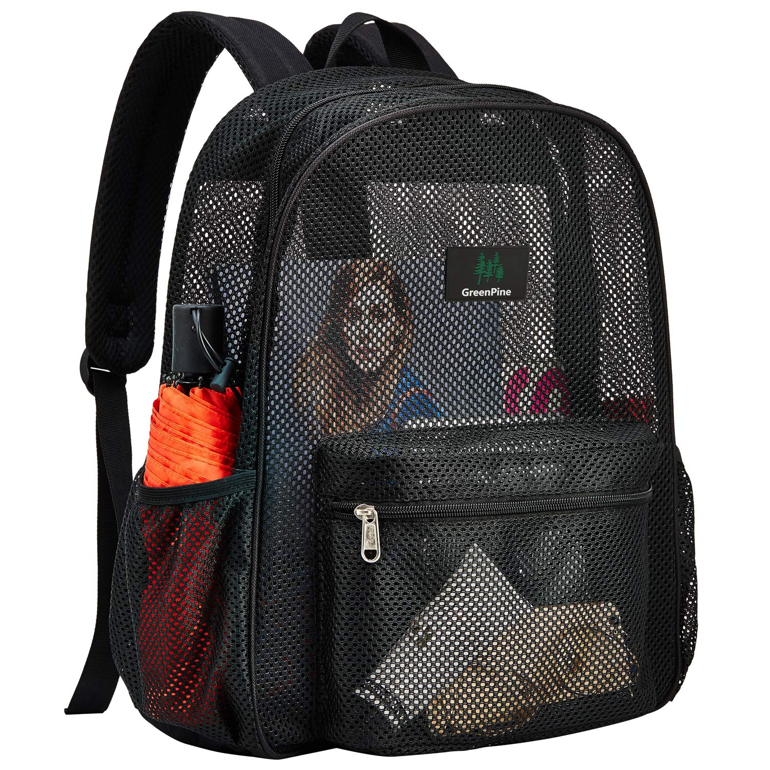 Outdoor Sports See Through College Student Backpack with Padded Shoulder Straps for Commuting Beach Heavy Duty Semi-Transparent Mesh Backpack Swimming Travel