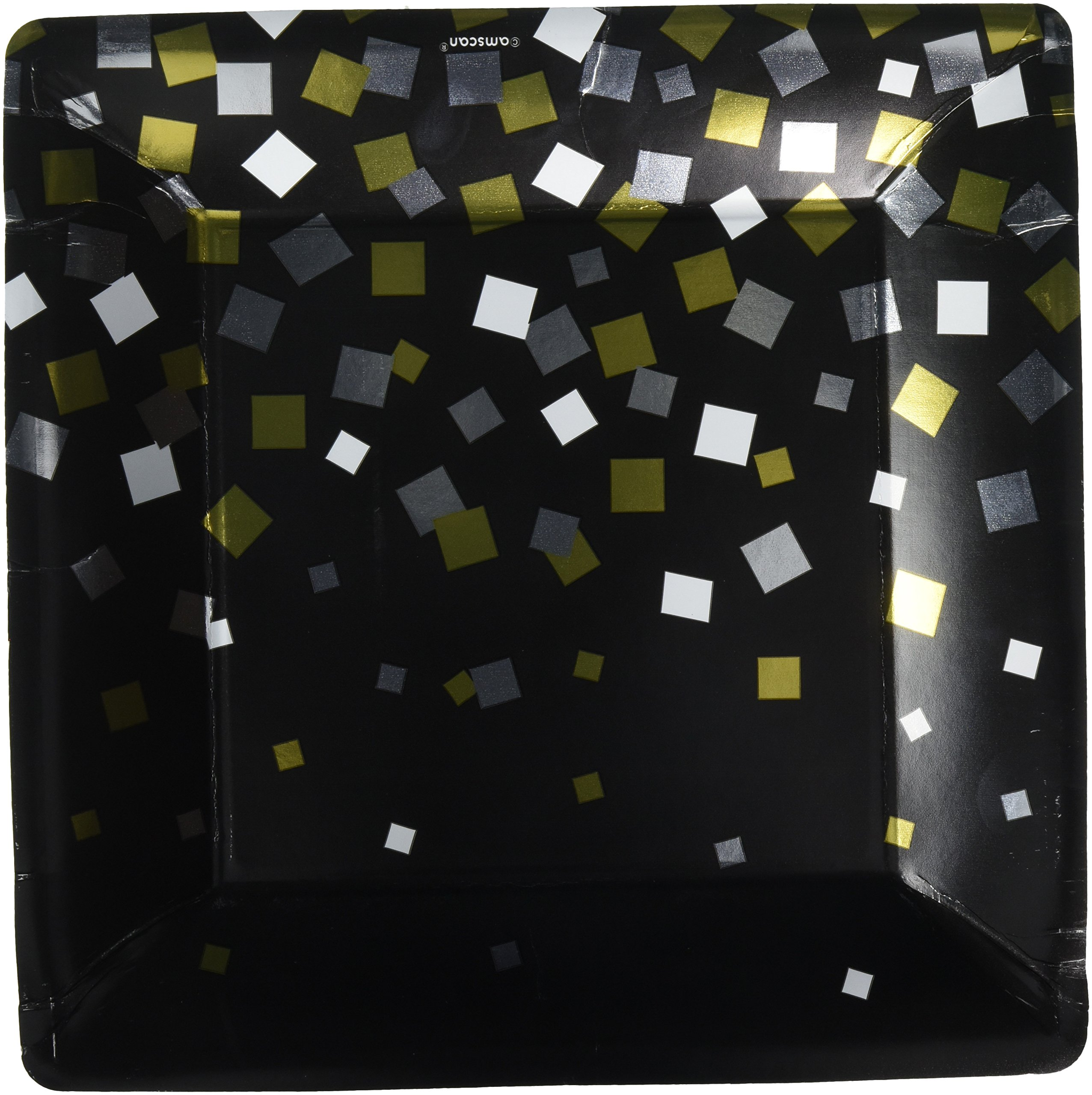 Amscan Durable Sparkling Confetti Square Party Plates Tableware, Paper, 10'' x 10'', Pack of 8 Others Supplies (96 Piece)