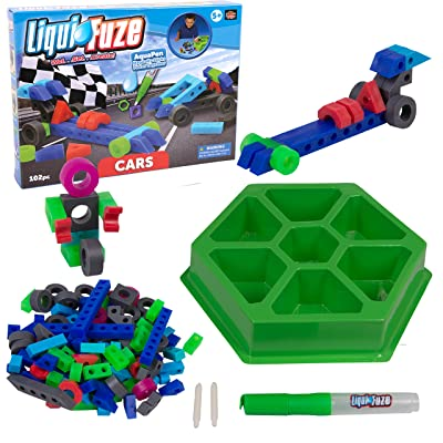 LiquiFuze Play Blocks - Use Water to Fuze Play Pieces Together to Customize Creations - Includes 100 Building Pieces, Storage Tray, and AquaPen (Car Edition): Toys & Games