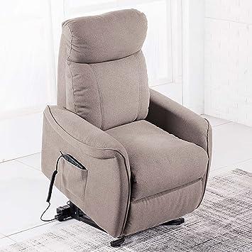 Sillón relax reclinable y con función levantapersonas modelo MISTER tejido Elegance moka – Sedutahome