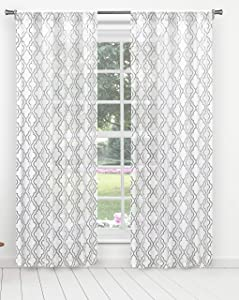 Home Maison Zainie Metallic Ombre Medallion Window Curtain, 38x96, Grey