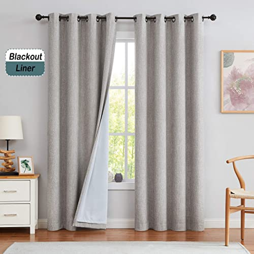 Central Park Solid Moderate Blackout Room Darkening Window Curtains for Bedroom Noise Reducing Drapes Heavy Linen Texture 8 Grommets Top Gradient for Living Room Tan 50 x 108 , 1 Piece