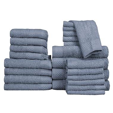 Baltic Linen Multi Count 100% Cotton Towels, 4 Bath Towels, 4 Hand Towels, 4 Fringed Fingertips, 12 Washcloths, Smoke Blue, 24 Piece Set