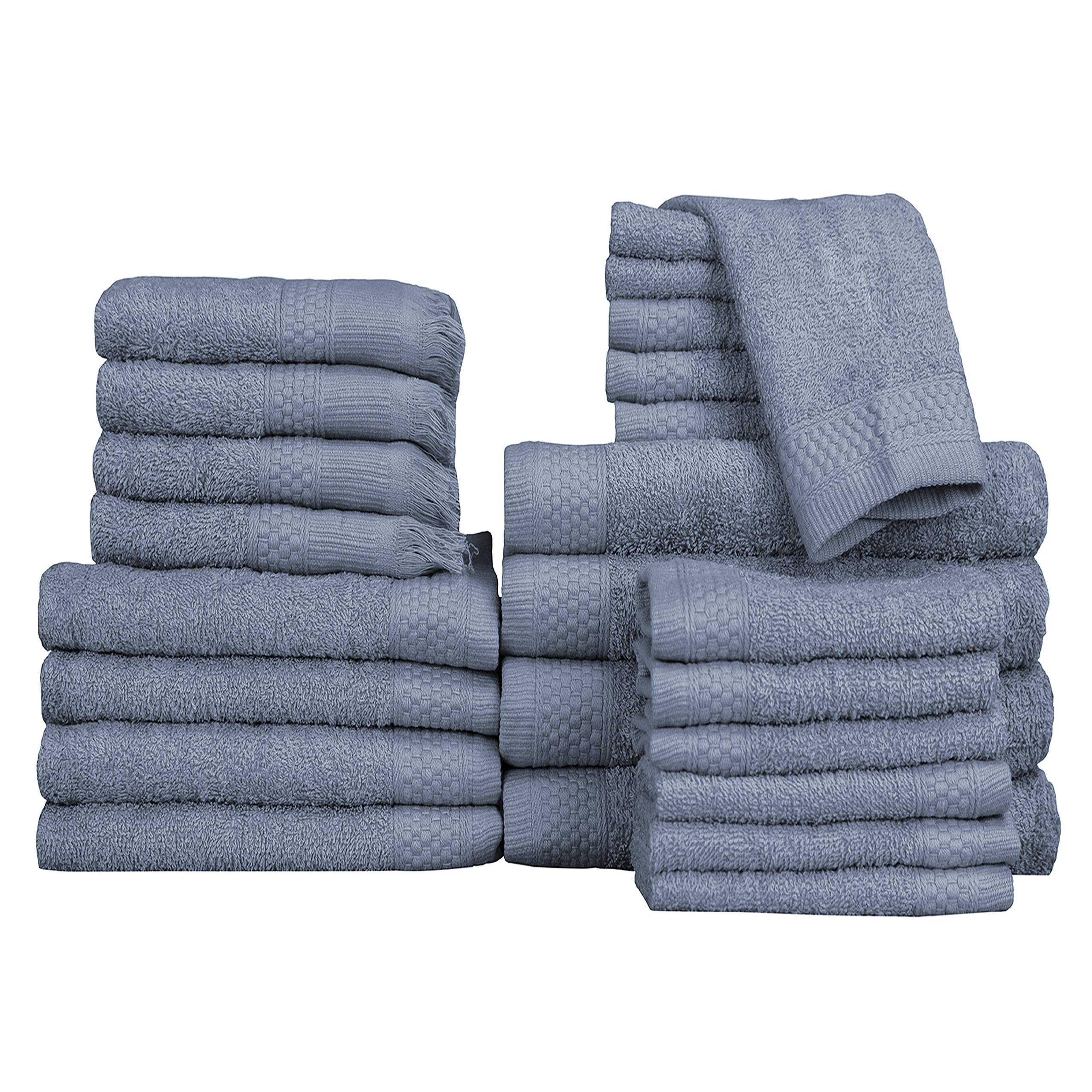 Baltic Linen Multi Count 100% Cotton Towels, 4 Bath Towels, 4 Hand Towels, 4 Fringed Fingertips, 12 Washcloths, Smoke Blue, 24 Piece Set