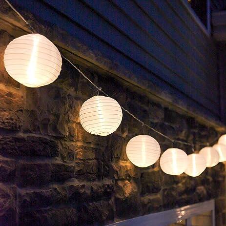 10 ft. White Outdoor String Light, 10 Mini Lanterns, 1 Plugin ...